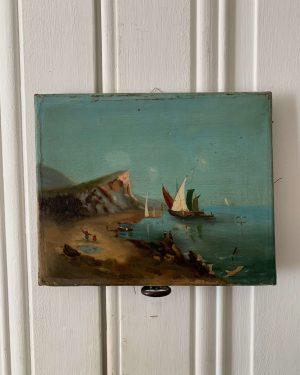 ancienne huile sur toile marine du 19eme siècle