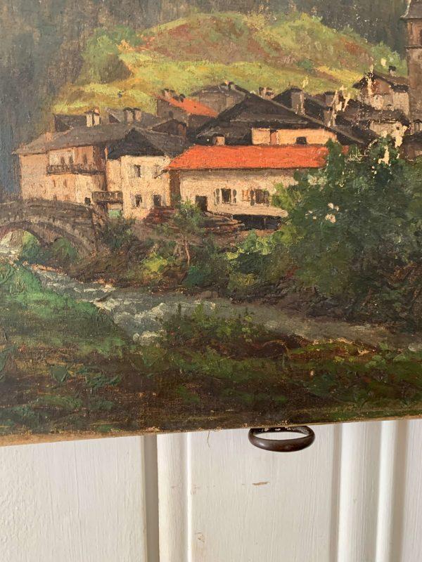 ancienne peinture à l'huile paysage de montagne