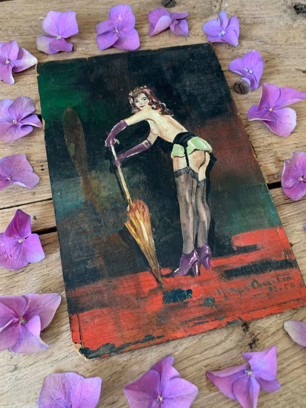 ancienne peinture à l'huile pin up femme années 50
