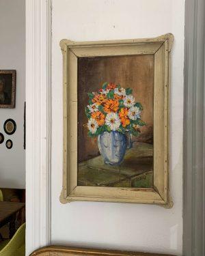 ancienne peinture à l'huile marguerites