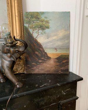 ancienne peinture à l'huile sur bois paysage marin