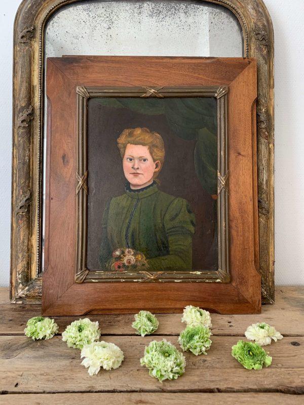 ancien portrait de femme vers 1900 huils sur carton et pub ancienne