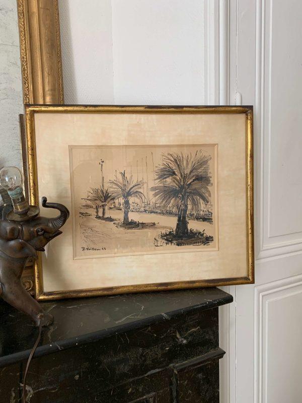 ancienne peinture de roger vuillem port de cannes