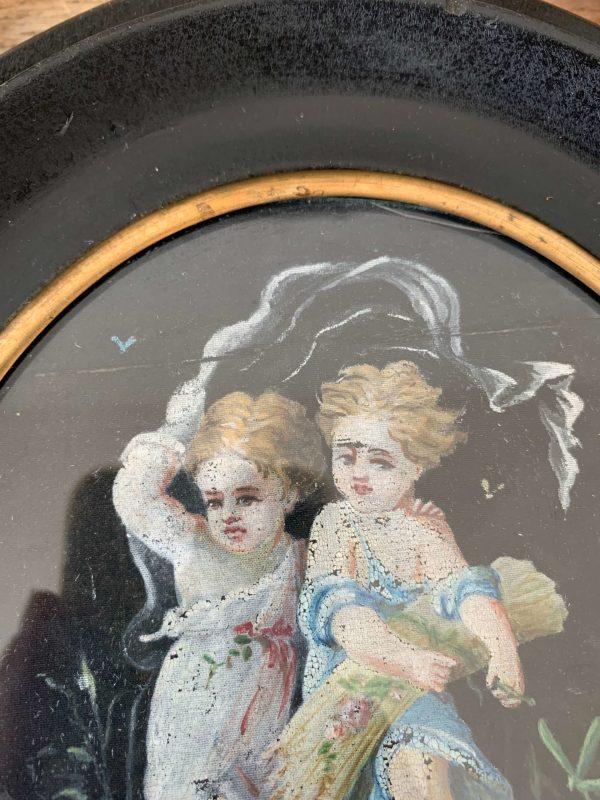 ancienne peinture anges sur soie cadre napoleon 3