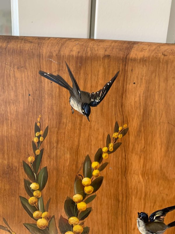 ancienne peinture à l'huile sur bois hirondelles mimosa violettes