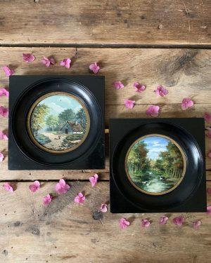 ancienne peinture à l'huile miniature paysage