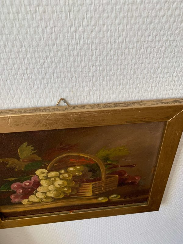 ancienne peinture à l'huile sur bois nature morte