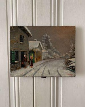 ancienne huile sur toile paysage neige hivernal