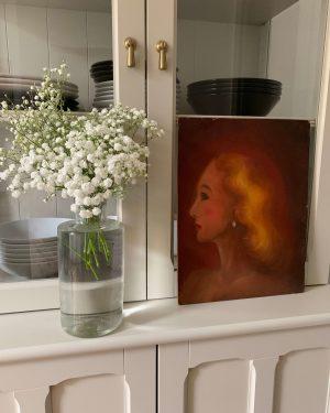 ancienne peinture à l'huile femme portrait