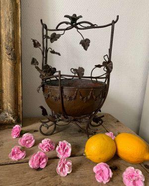 ancienne coupe jardinière en fer forgé epoque art nouveau