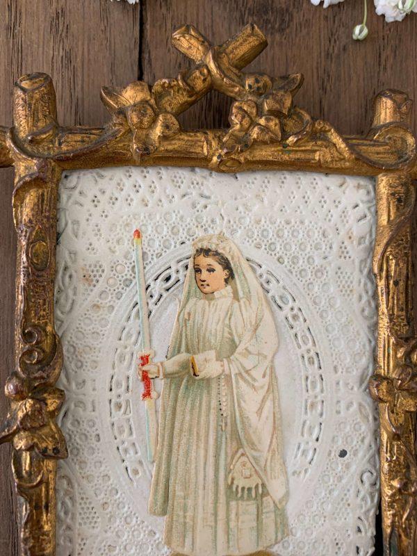 ancien cadre image pieuse fin XIXème cadre en laiton ancien