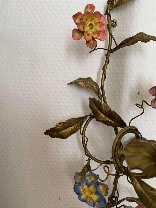 ancienne applique murale fleurs en porcelaine 19ème