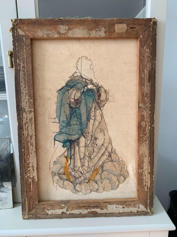 ancienne broderie sur soie XIXème de l'immaculée conception de la vierge Marie