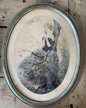 gravure ancienne femme art deco