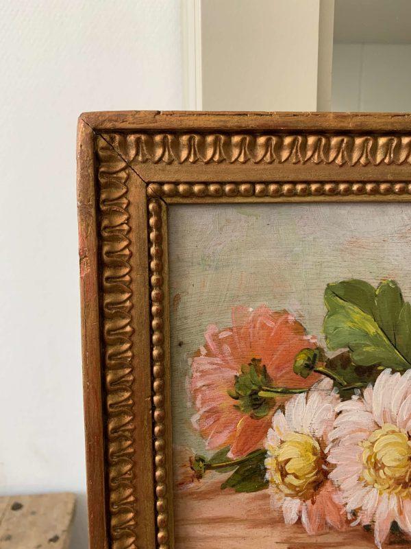 ancienne peinture à l'huile sur carton marguerites