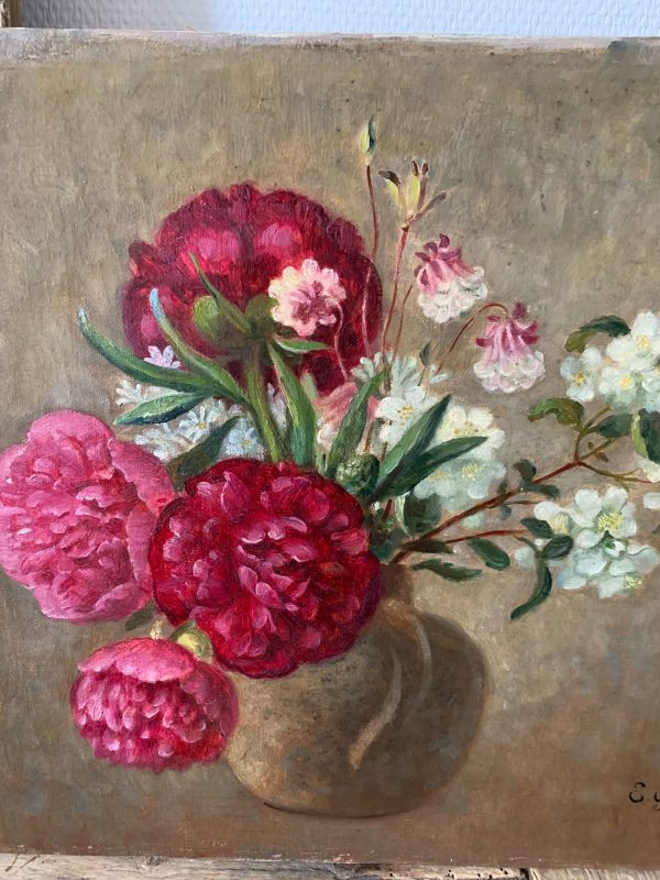 ancienne peinture à l'huile fleurs pivoines