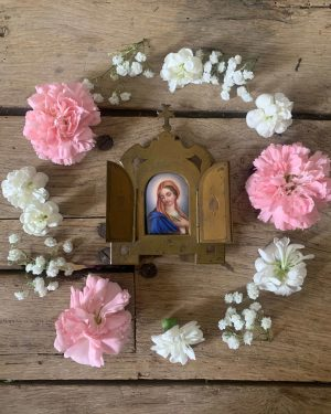 ancien oratoire de chevet vierge sur porcelaine 19ème