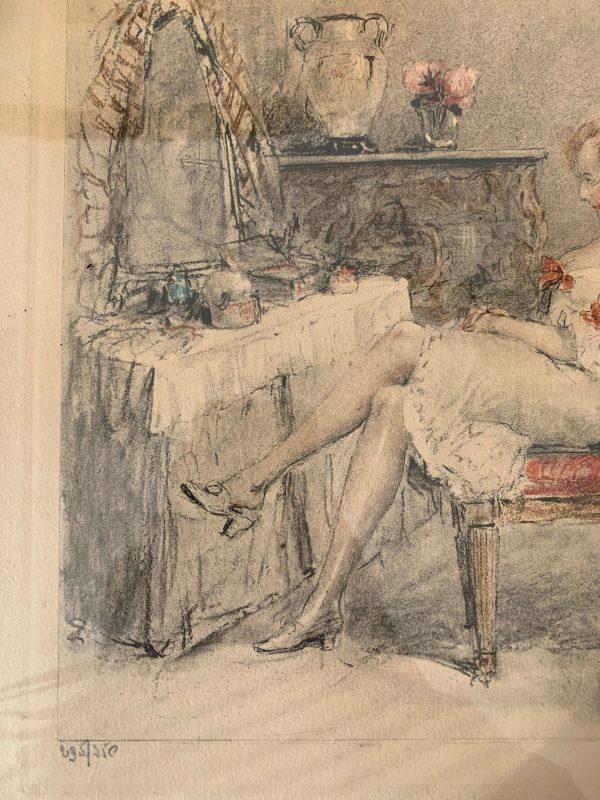 ancienne gravure de femme antoine calbet art déco
