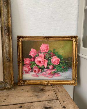 ancienne peinture à l'huile de roses