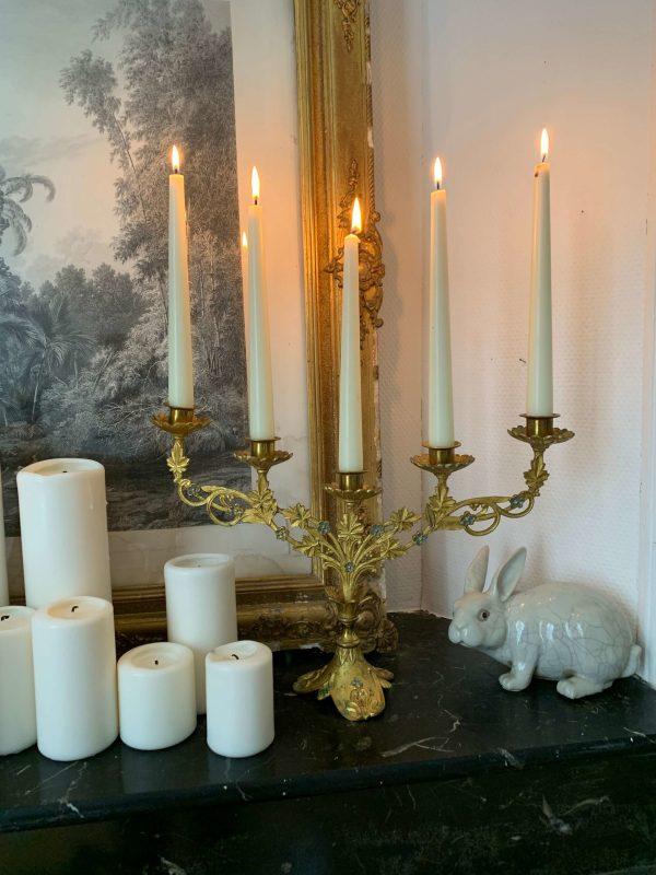 ancien chandelier en laiton doré décor de fleur art nouveau
