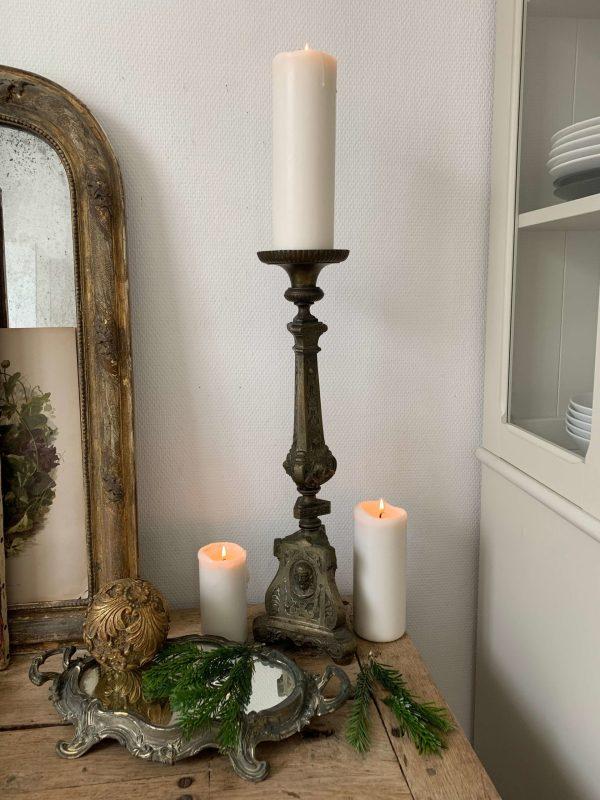ancien pique cierge en bronze sainte famille eglise xixeme