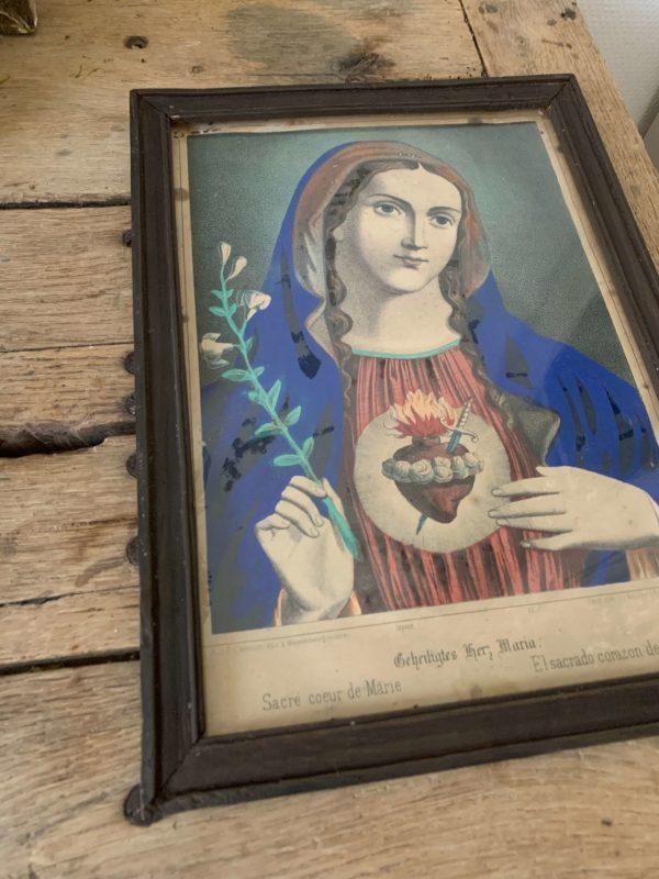 ancienne gravure xixeme coeur de marie