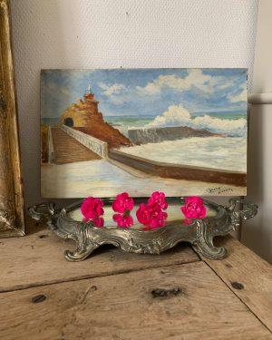 ancienne peinture à l'huile de biarritz rocher de la vierge