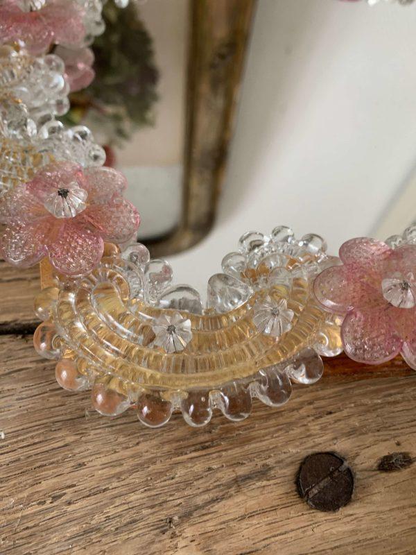 ancienne glace miroir en verre de murano fleurs roses