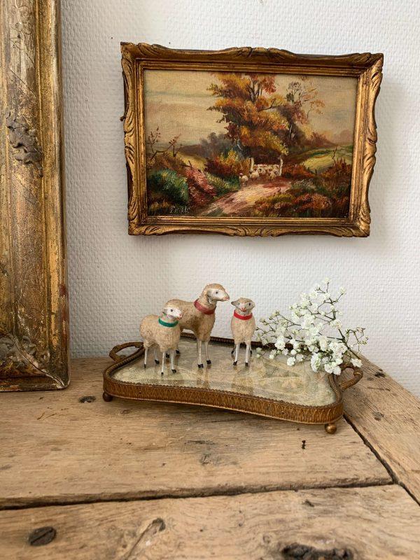 ancienne peinture à l'huile paysage moutons