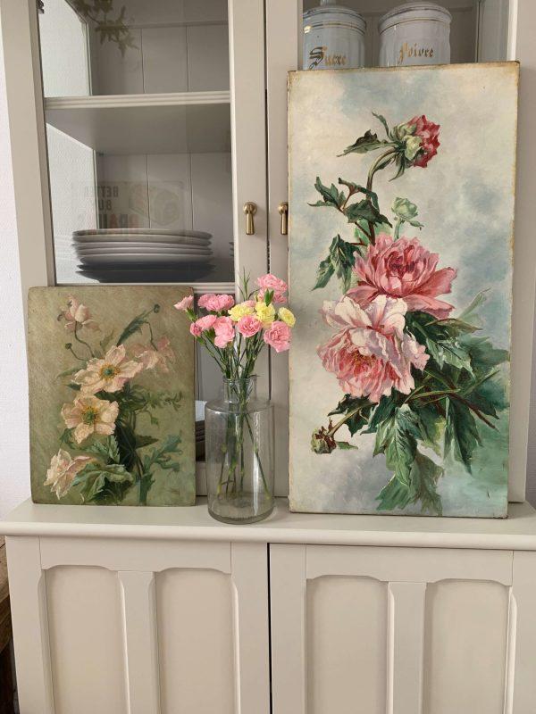 peintures fleurs anciennes pivoines et anémones