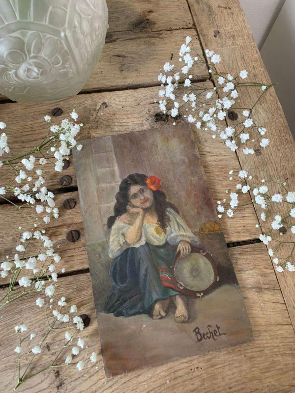 ancienne peinture sur bois femme gitane peinture à l'huile