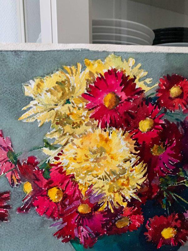 ancienne peinture aquarelles fleurs marguerite beauzé raymond