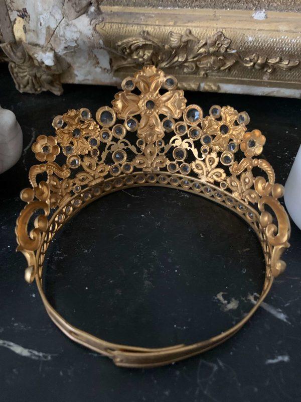 ancienne couronne de vierge en aiton eglise xixeme diademe