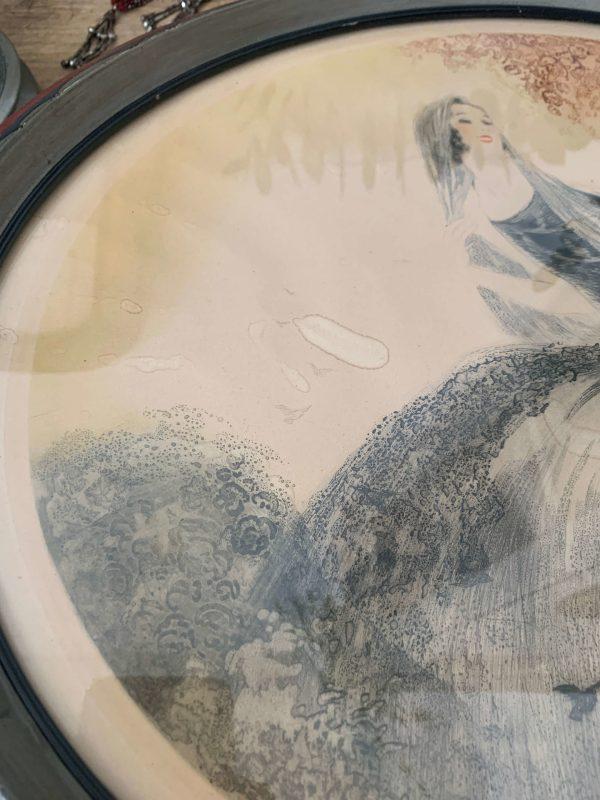 ancienne gravure de femme art deco
