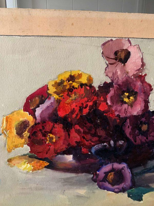 ancienne aquarelle de fleurs 1920 par Pierre reynaud