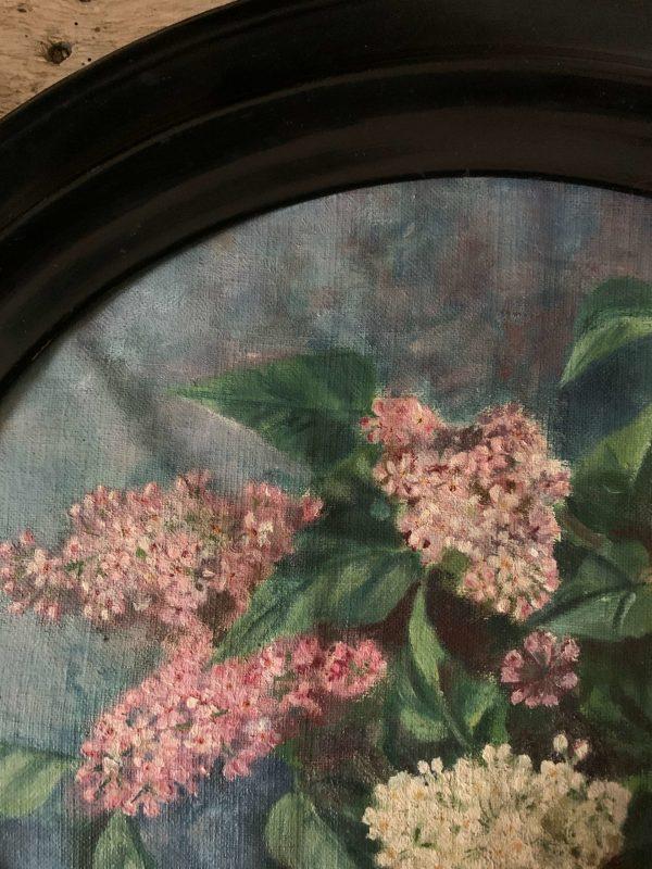 ancienne peinture de lilas cadre napoléon III