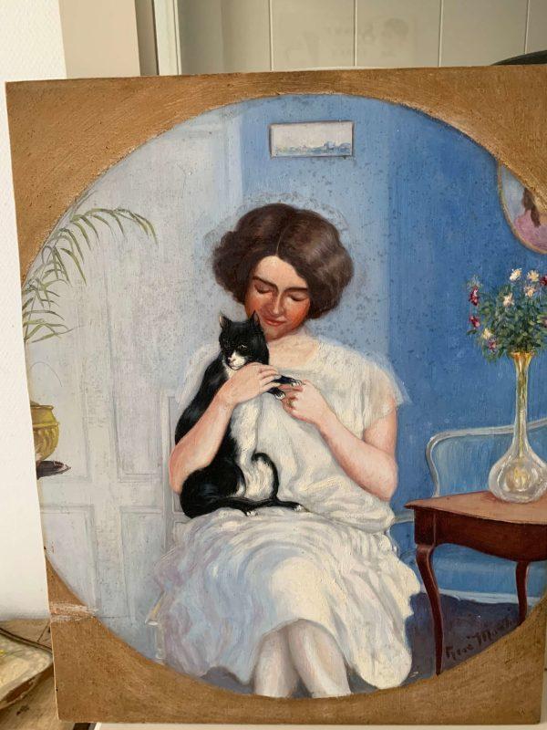 ancienne peinture à l'huile la femme au chat années 30