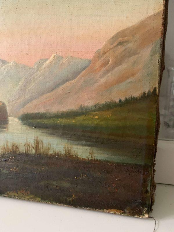 ancienne peinture de paysage animé xixeme