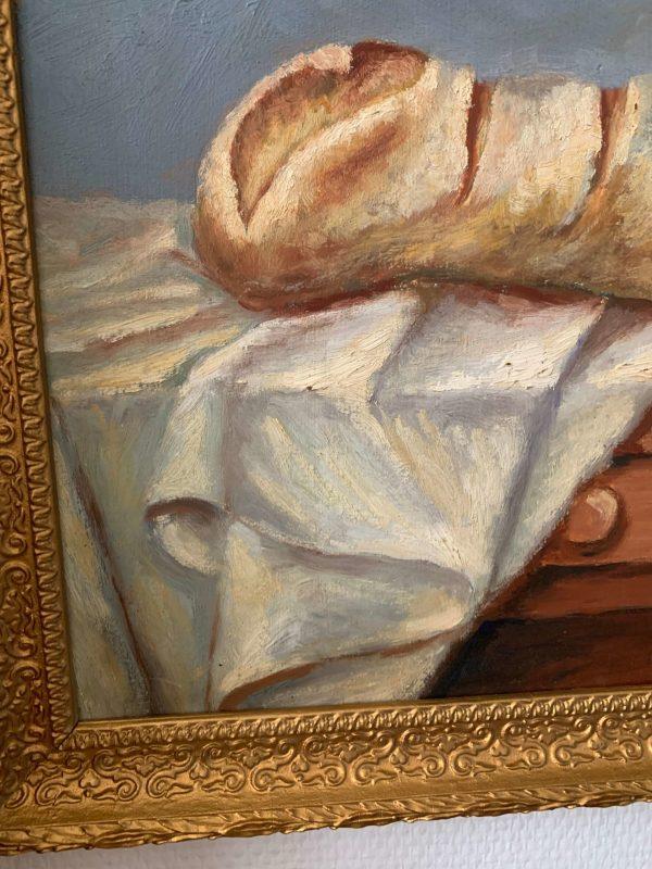 ancienne peinture à l'huile pain nature morte début XXème