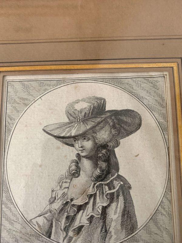 ancienne gravure de mode xviii eme siècle chapeaux
