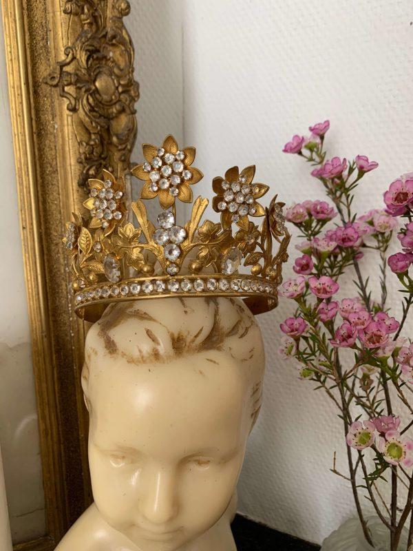 ancienne couronne de vierge en laiton xixeme siecle