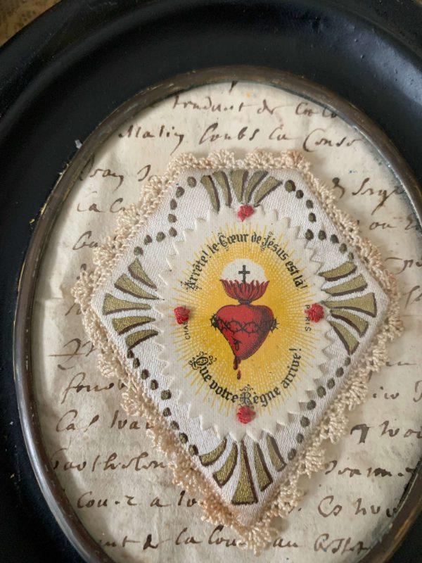 ancien cadre ex voto image pieuse xixeme cadre napoleon scapulaire