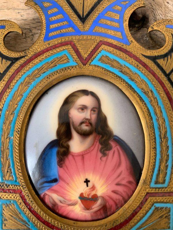 benitier sacre coeur de jesus ancien xixeme