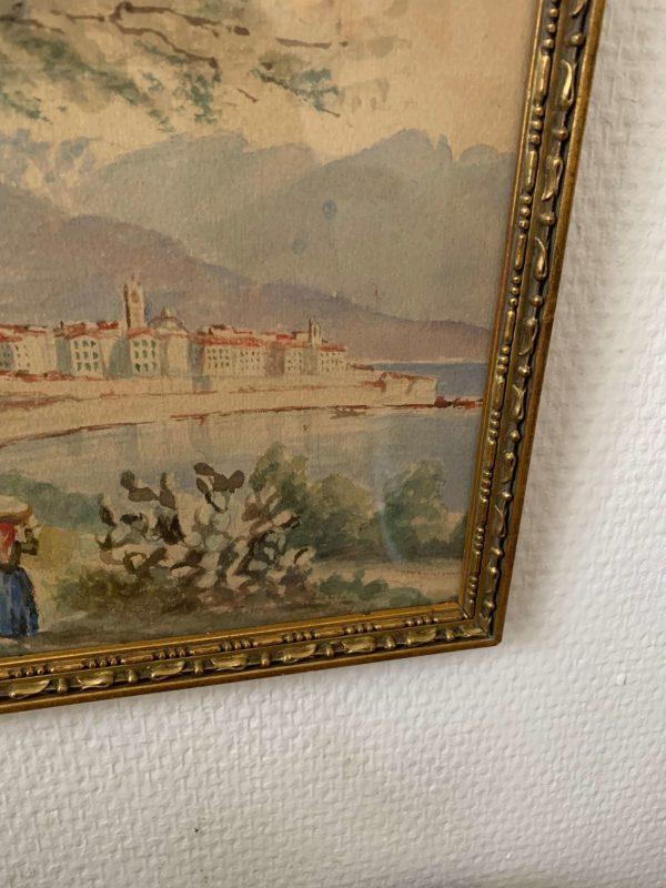 ancienne aquarelle paysage animé fin xixeme