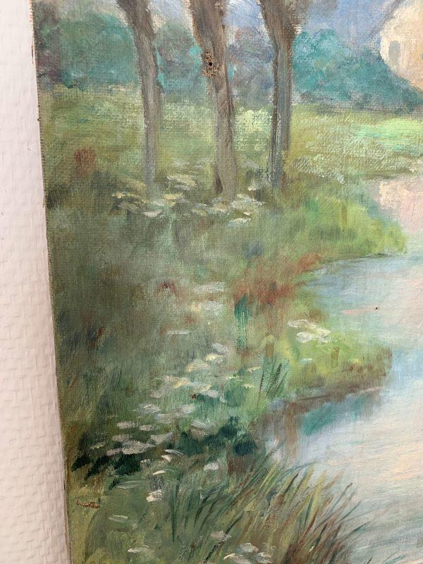 ancienne peinture à l'huile paysage cygne vers 1900