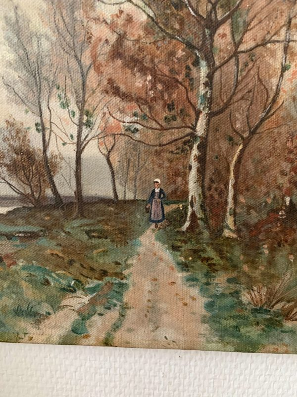 ancienne peinture à l'huile paysage animé debut 20eme