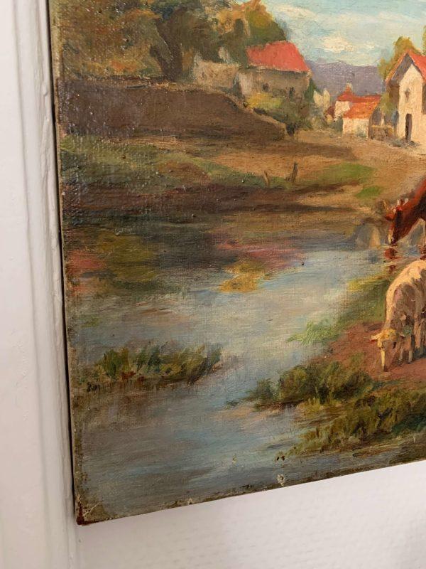 ancienne huile sur toile xixeme moutons et vaches