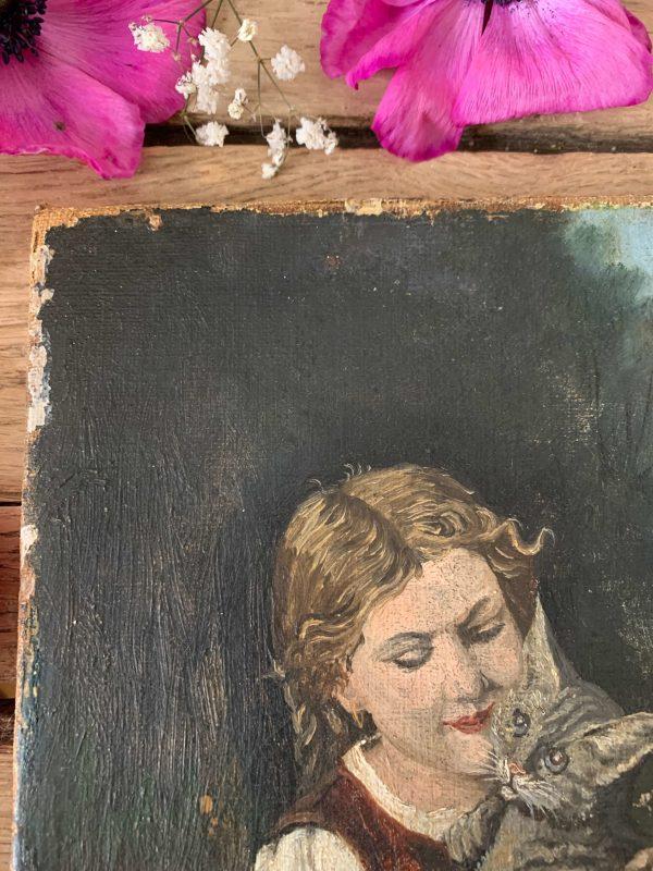 ancienne huile sur toile fillette et chat xixeme