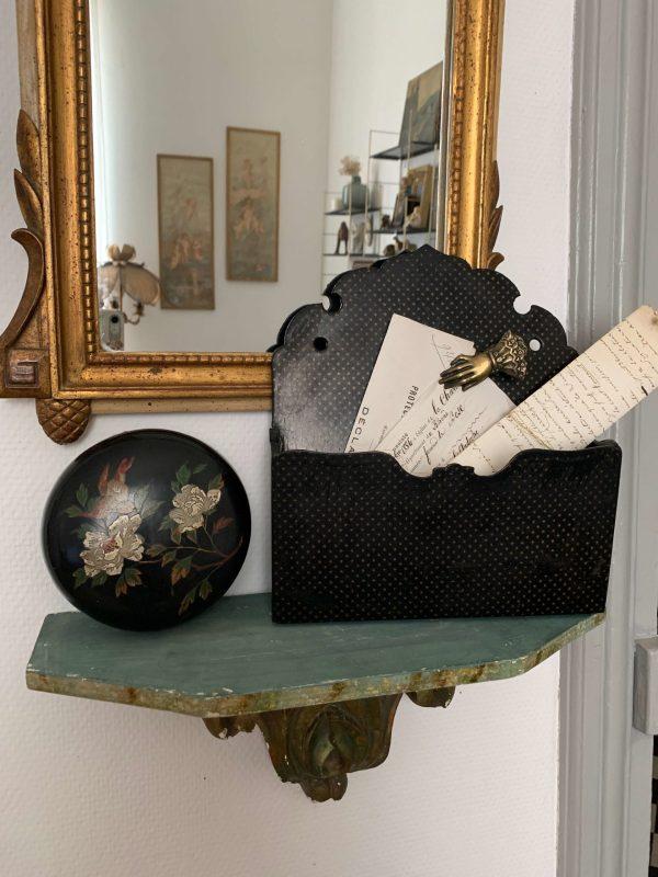 ancien porte documents napoleonIII en carton bouilli deco étoiles