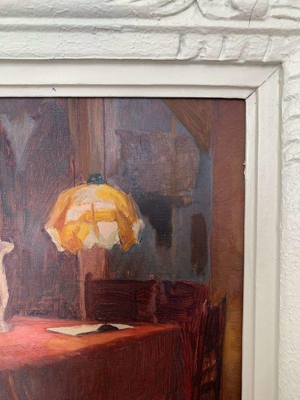 """Peinture ancienne """"Scène d'intérieur"""" vers 1900"""